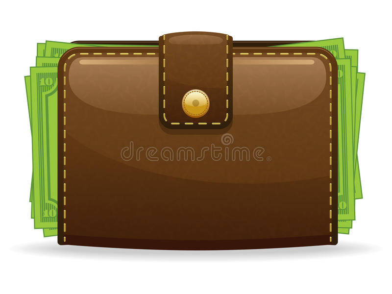 Wallet Icon. A glossy illustration of a wallet icon full of money vector illustration