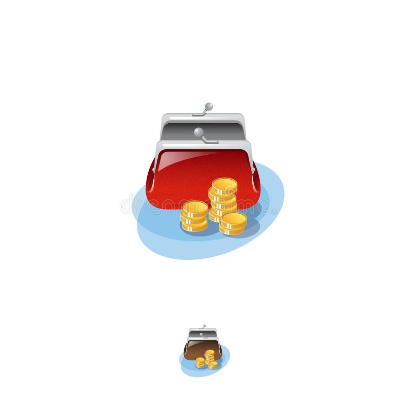 Wallet icon. Banking web icon. A bright purse is open and gold coins near it. stock illustration