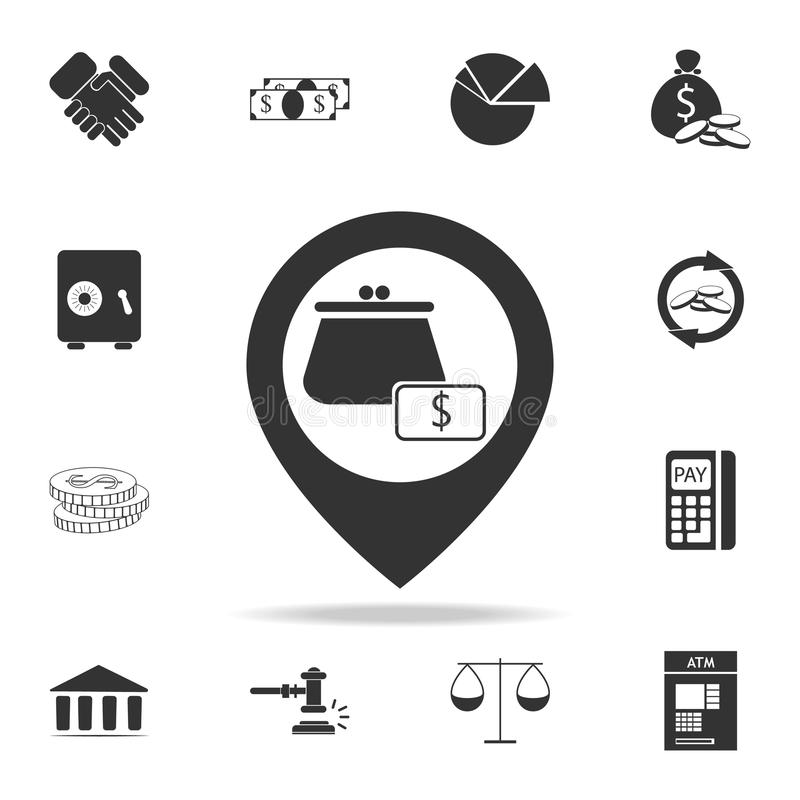 Wallet icon in pin icon. Detailed set of finance, banking and profit element icons. Premium quality graphic design. One of the col stock illustration