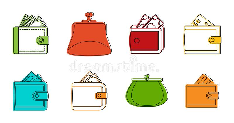 Wallet icon set, color outline style royalty free illustration