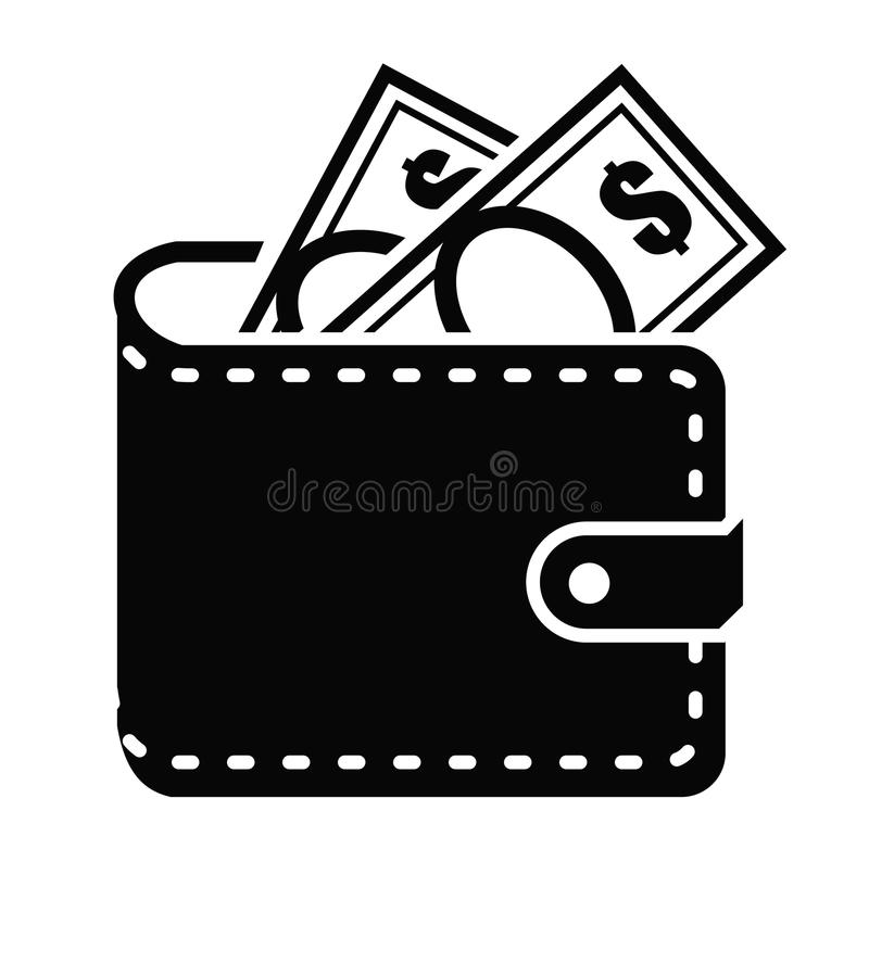 Wallet icon. Vector black Wallet icon on white background royalty free illustration