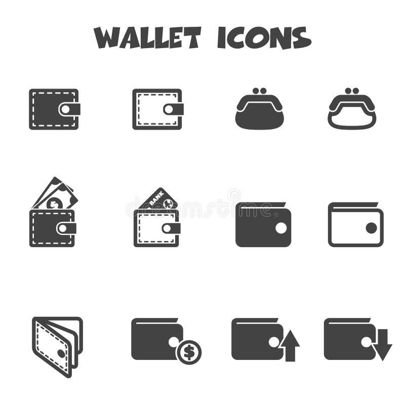 Wallet icons. Mono vector symbols royalty free illustration