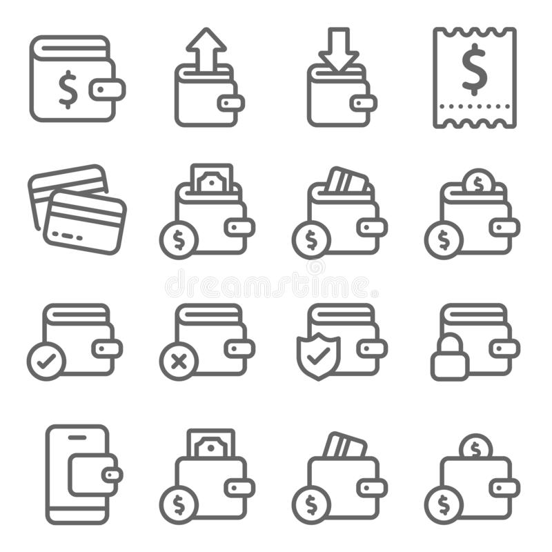 Wallet icons set vector illustration. Contains such icon as Bill , Receipt , Wallet protection, payment and more. Expanded Stroke. Smart Wallet icons set vector royalty free illustration