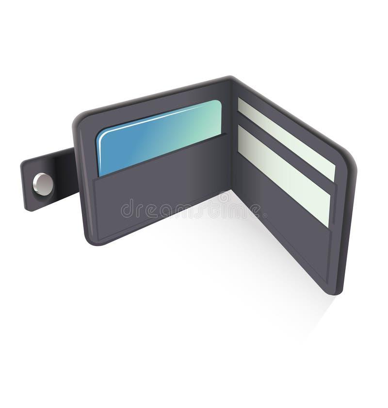 Wallet. Illustration of black leather wallet icon vector illustration