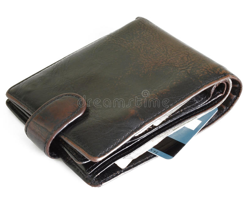 Wallet isolated on white background. Wallet with money and bank card isolated on white background stock images