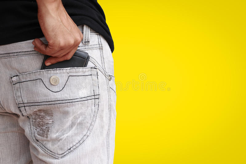 Wallet in jeans royalty free stock photos