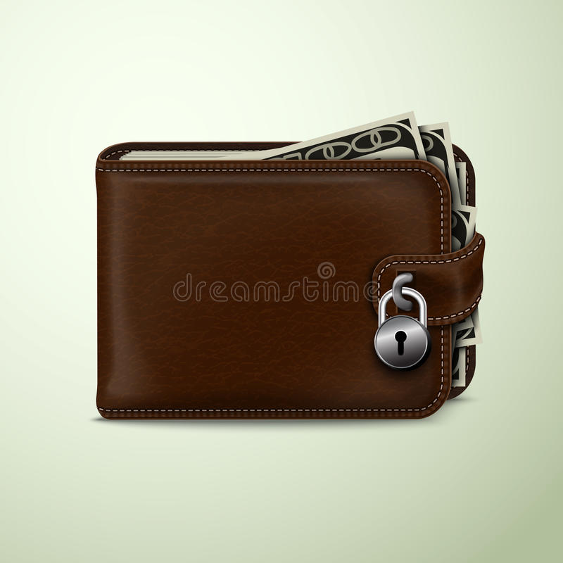 Download Wallet locked with padlock stock vector. Illustration of concept - 39502990