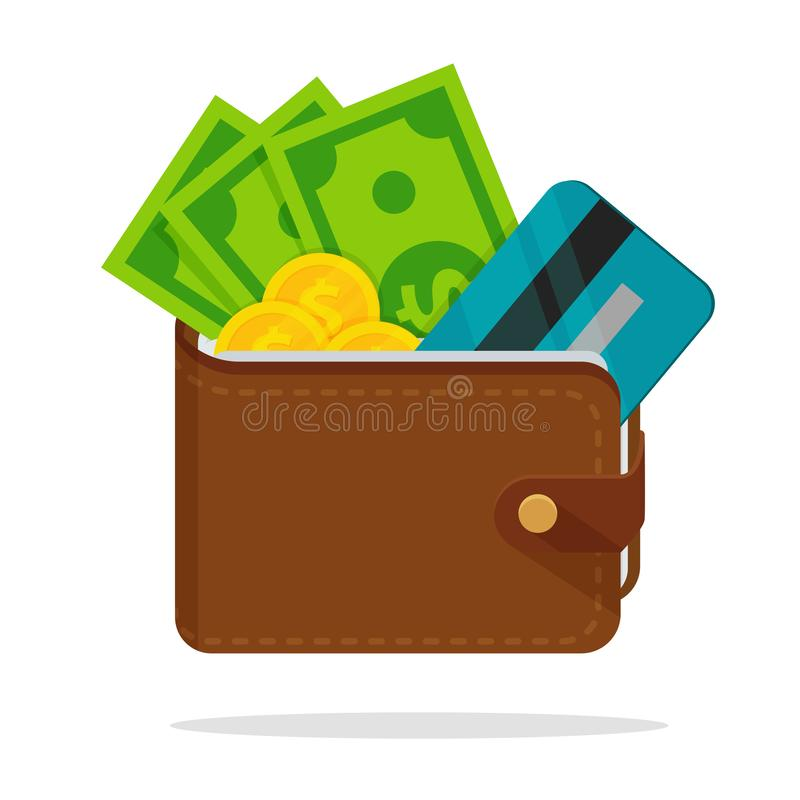 Wallet with a lot of dollar money With credit cards separated vector illustration