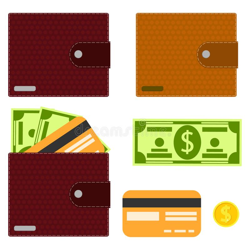 Credit Coin: Coin Purse And Money Stock Illustration. Illustration Of