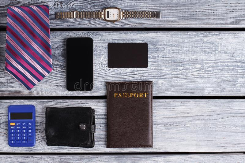Wallet, mobile phone and passport. Businessman life set. Business trip is on stock photos