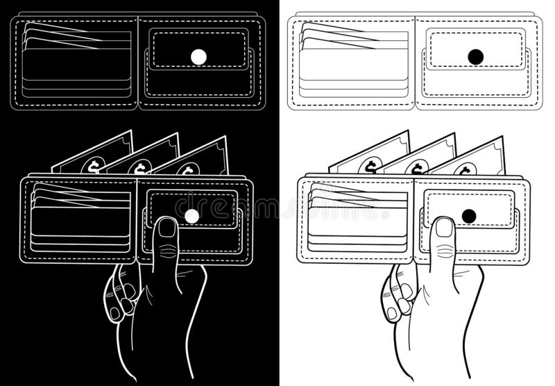 Wallet with money. Black and white illustration for financial institutions: banks, stock exchanges. Wallet with money. Black and white illustration for vector illustration