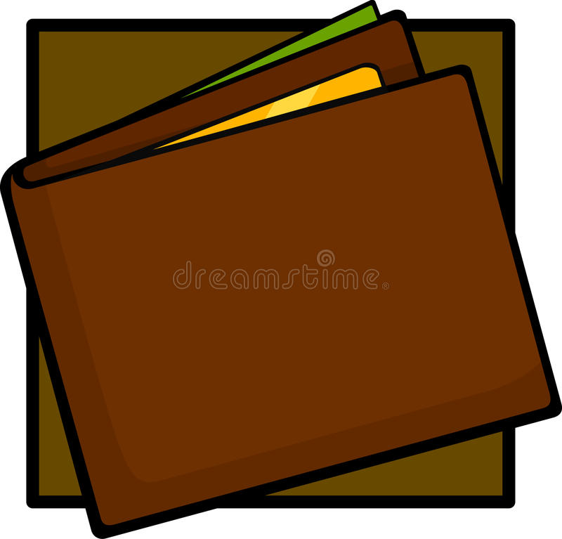 Wallet with money and credit card. Illustration of a wallet with money and credit card stock illustration