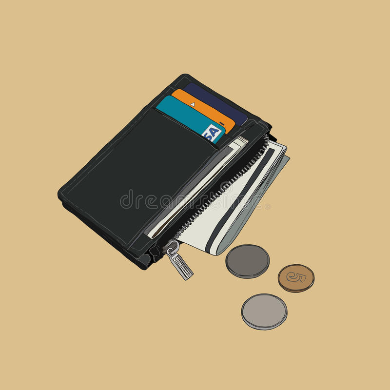 Wallet with money and credit cards vector. Wallet with money and credit cards Sketch of wallet full of cash Wallet with dollar bills and coins Hand drawn vector vector illustration