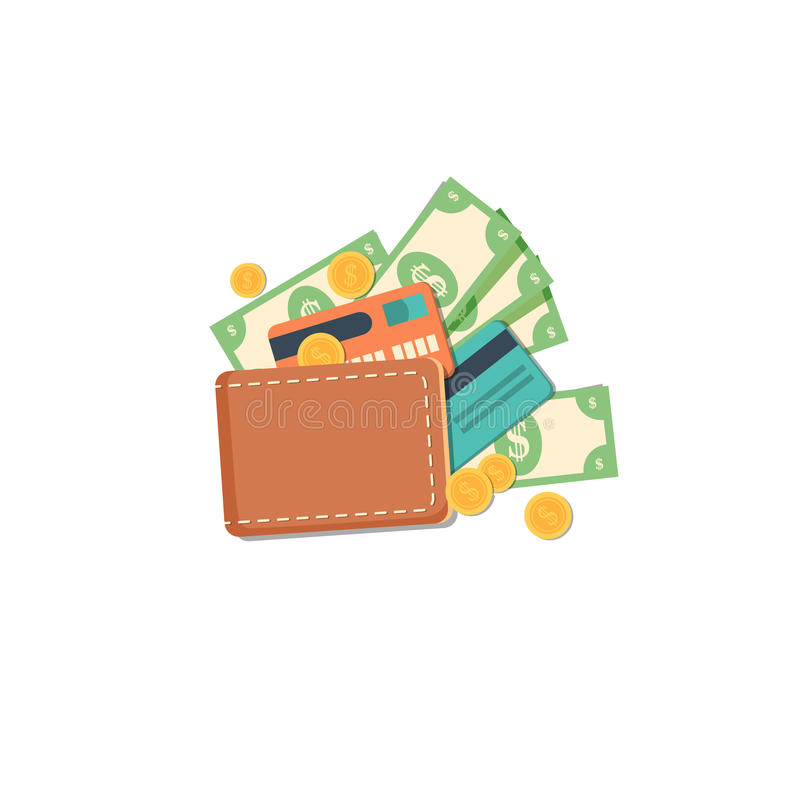 Wallet with money. Flat illustration. Wallet with dollars, credit cards and cash. Vector illustration vector illustration