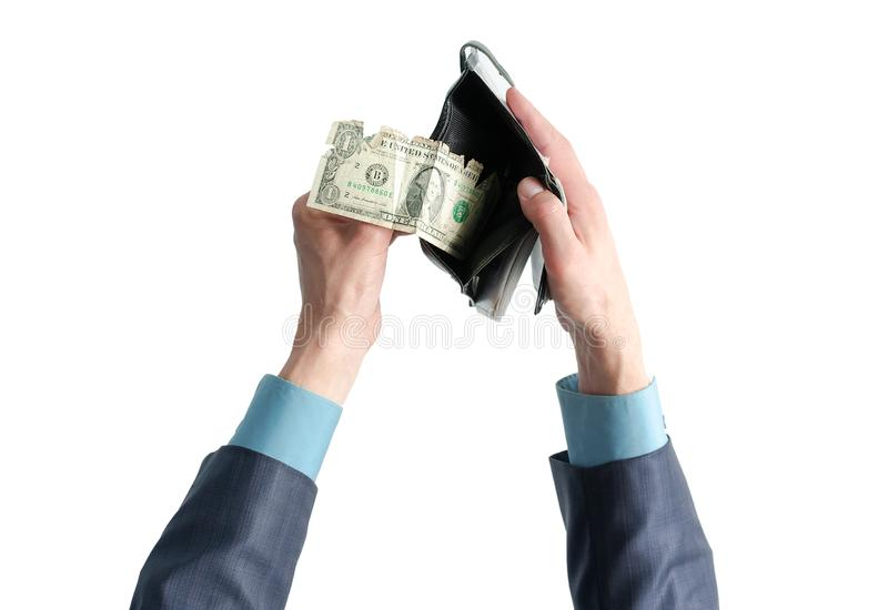 Wallet with money in hands. royalty free stock photos