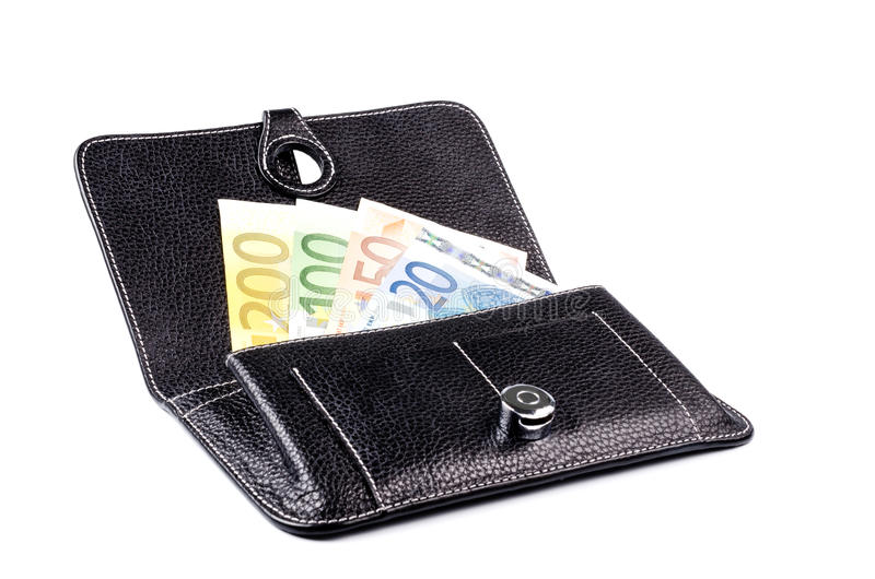 Wallet with money isolated. Black leather wallet with euros isolated on white background stock images