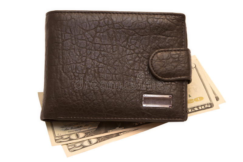 Wallet With Money Isolated On White. Black wallet with money isolated on white stock photography