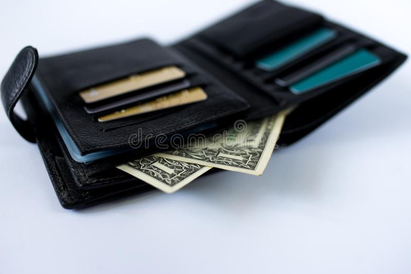 Wallet with money isolated on white background art. Finance cash business royalty free stock photography
