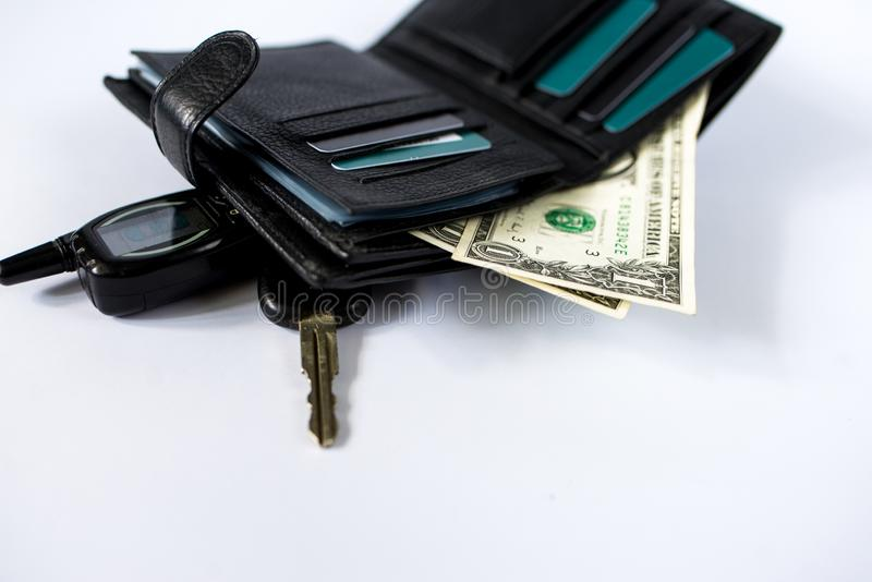 Wallet with money isolated on white background art stock photo