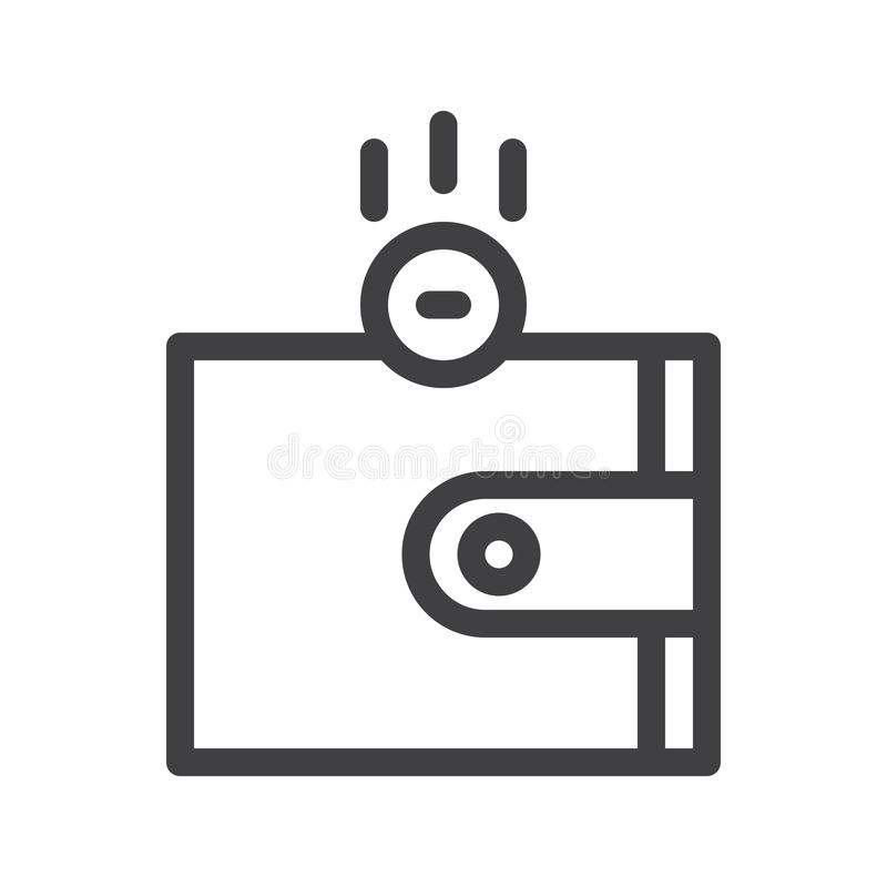 Wallet with money line icon. Outline vector sign, linear style pictogram isolated on white. Symbol, logo illustration. Editable stroke. Pixel perfect graphics vector illustration
