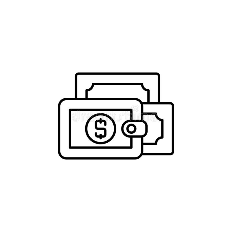 Wallet, money line icon on white background. Elements of finance illustration icon. Premium quality graphic design icon. Can be used for web, logo, mobile app stock illustration