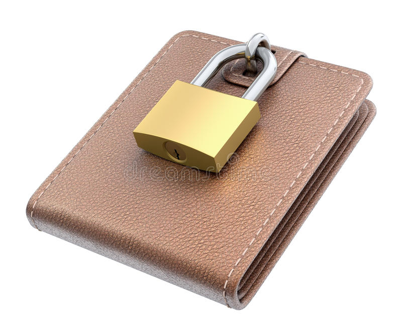 Wallet with padlock royalty free illustration