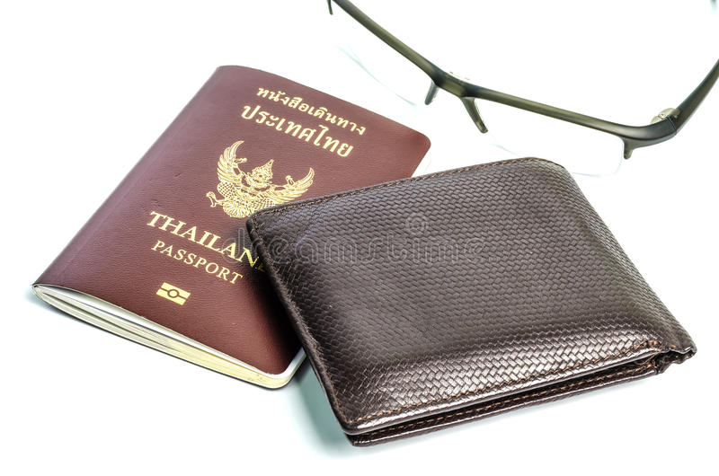 Wallet with passport. On the White background stock images