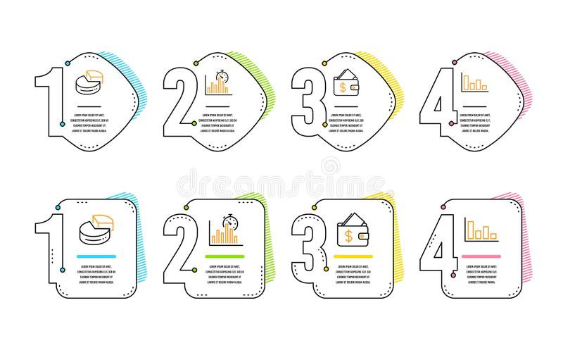 Wallet, Pie chart and Report timer icons set. Histogram sign. Affordability, 3d graph, Growth chart. Vector vector illustration