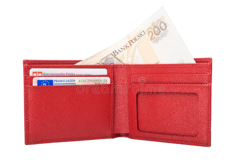 Wallet with polish zloty isolated on white. Red wallet with polish money isolated on whit royalty free stock photography