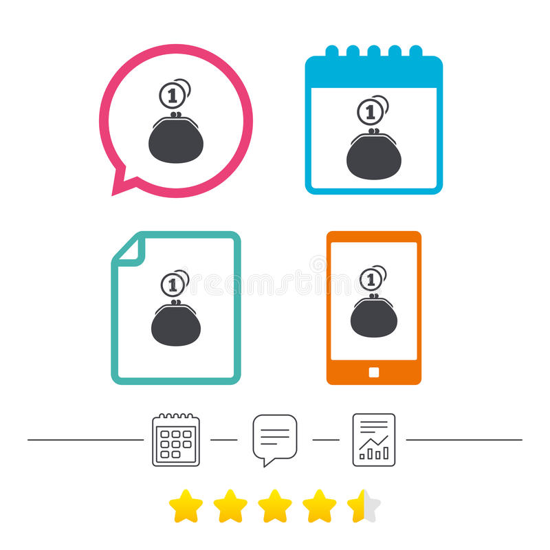 Wallet sign icon. Cash coins bag symbol. Calendar, chat speech bubble and report linear icons. Star vote ranking. Vector stock illustration