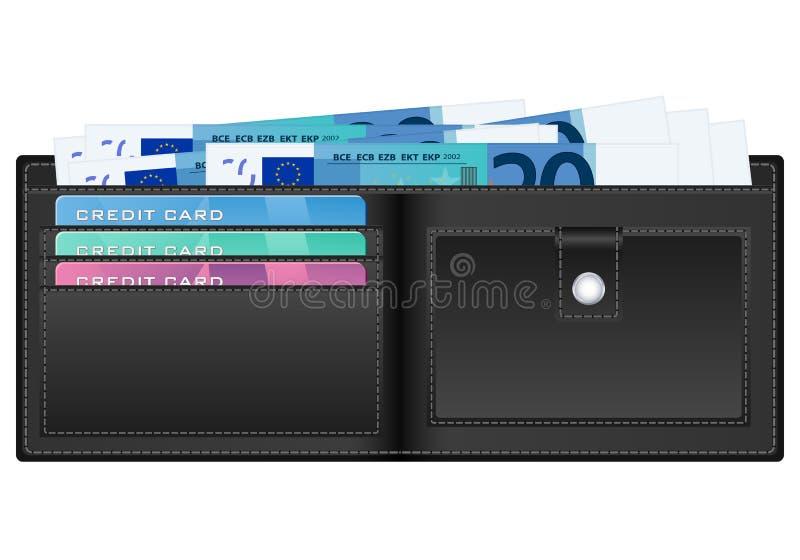 Wallet with twenty euro banknote stock illustration