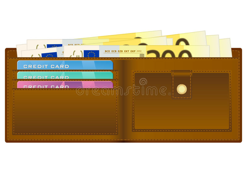 Wallet with two hundred euro banknote stock illustration