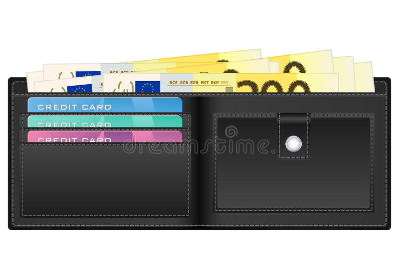 Wallet with two hundred euro banknote royalty free illustration