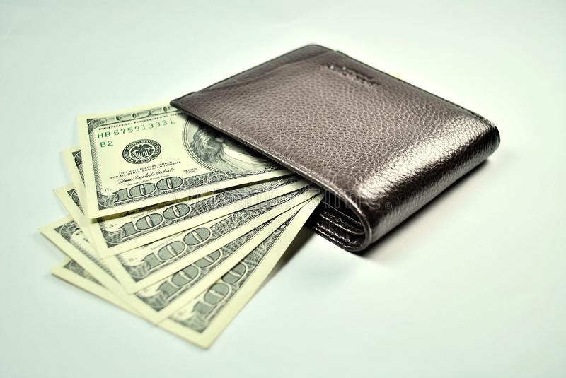 Download Brown Wallet And 100 Dollar US Bills Stock Image - Image: 20140103