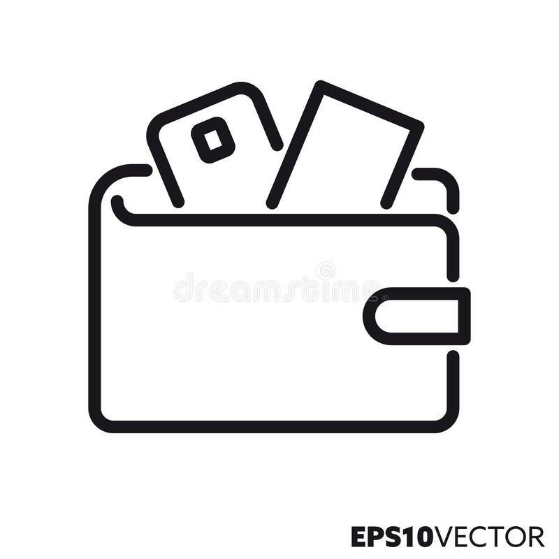 Wallet vector line icon royalty free illustration