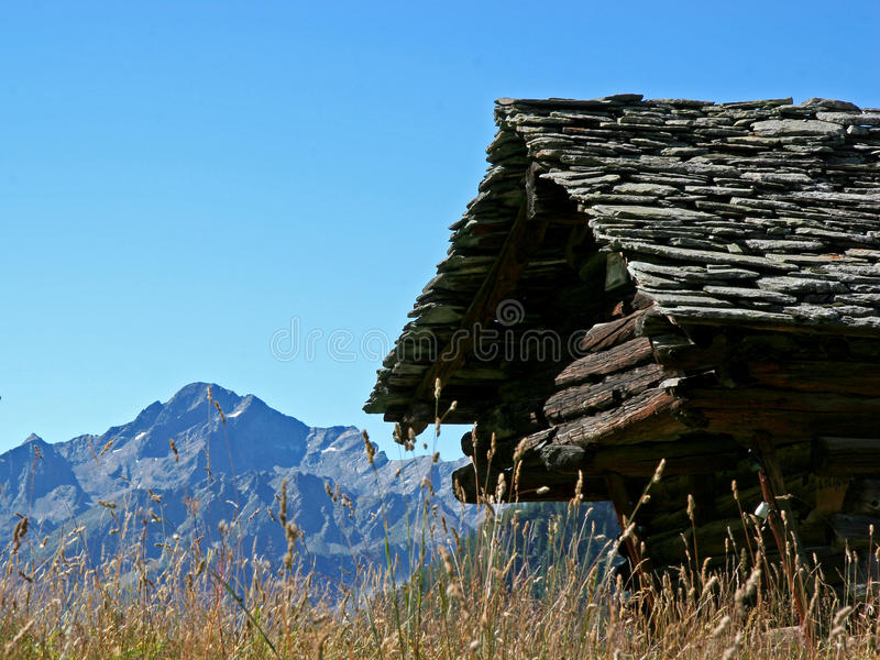 Wallis Chalets. Rustic cabins in the Italian part of the Valais royalty free stock photos