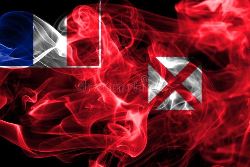Wallis och Futuna rök sjunker, Frankrike den beroende territoriumflaggan arkivfoton