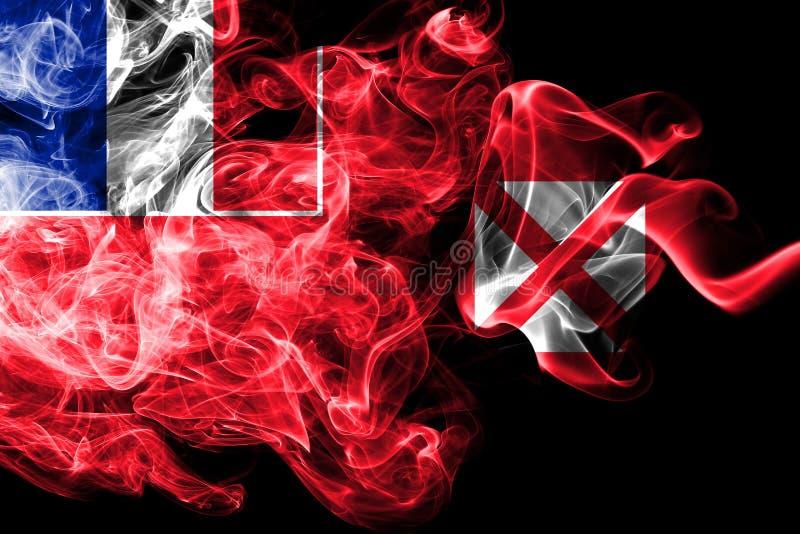Wallis och Futuna rök sjunker, Frankrike den beroende territoriumflaggan royaltyfri illustrationer