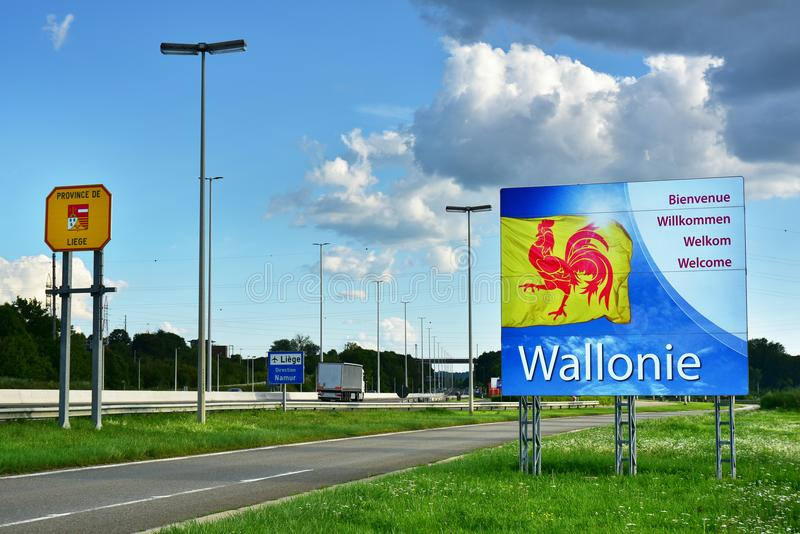 Wallonie Bordersign  库存照片