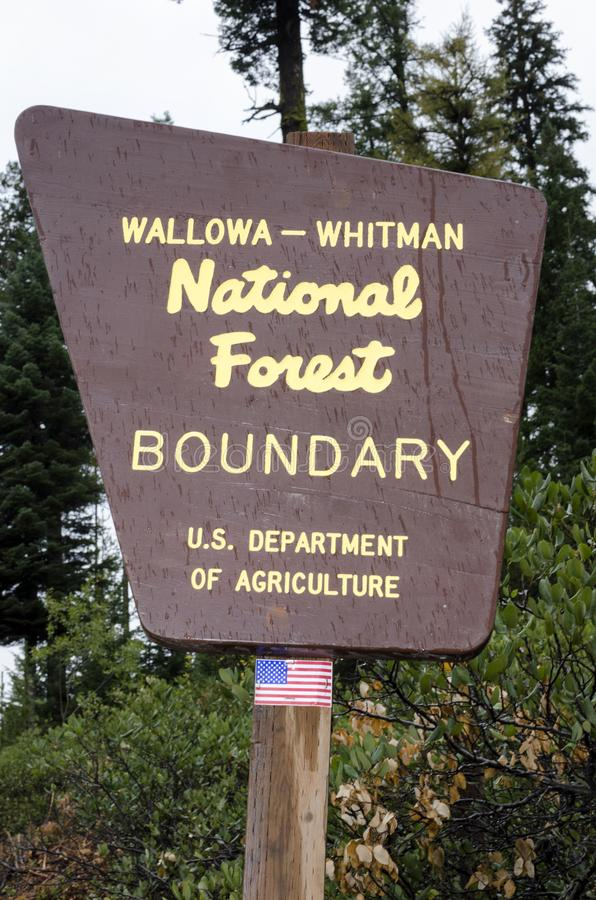 Wallowa - Whitman National Forest Boundary Sign fotografia stock