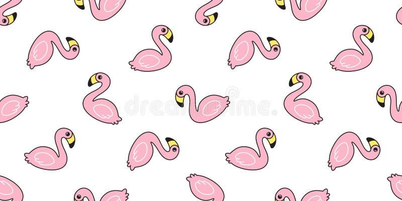 Wallpape de répétition de fond de tuile d'isolement par écharpe tropicale exotique sans couture de bande dessinée d'été d'oiseau  illustration de vecteur