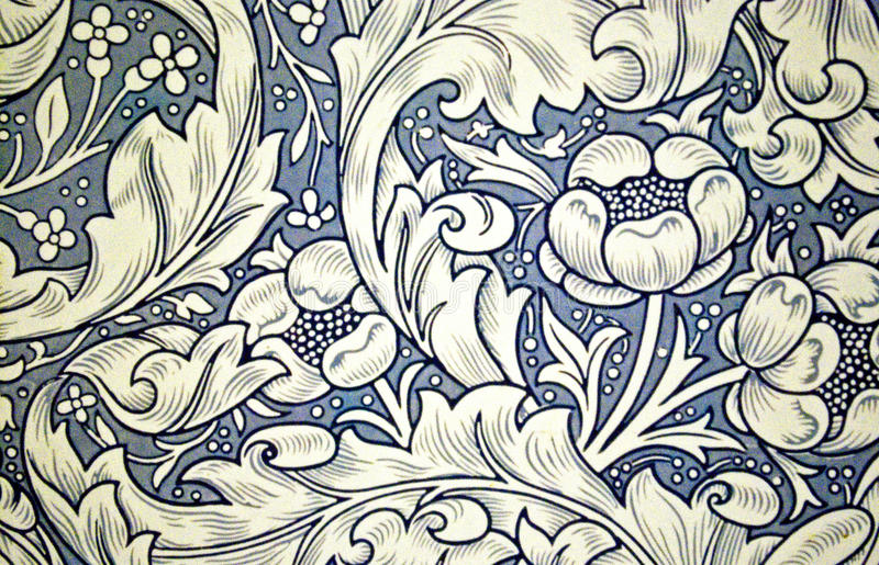 Wallpaper. With period flower design stock photo