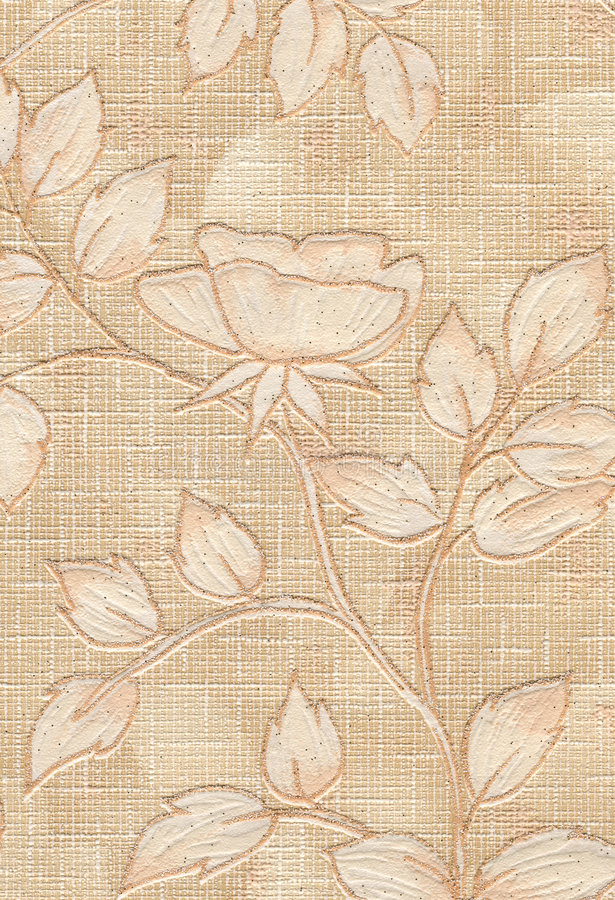 Wallpaper. Old textile wallpaper with floral design royalty free stock photos