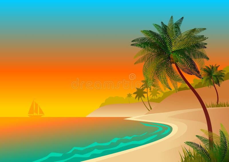 Wallpaper avec le paysage maritime, avec la plage et les palmiers illustration libre de droits