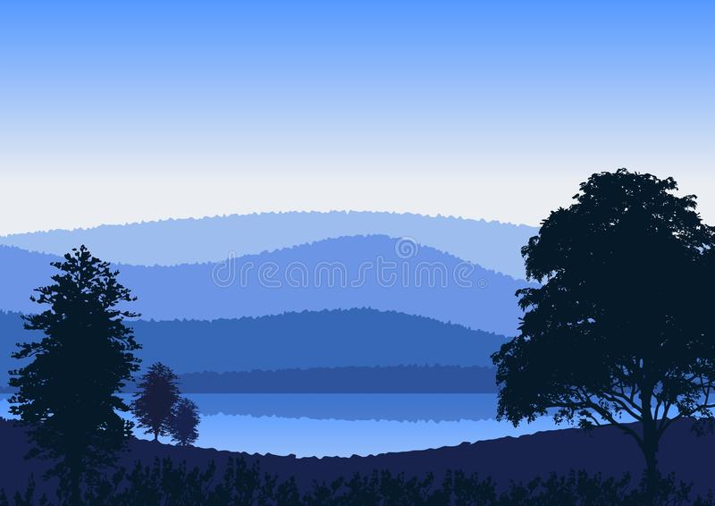 Wallpaper or background with natural landscape stock illustration