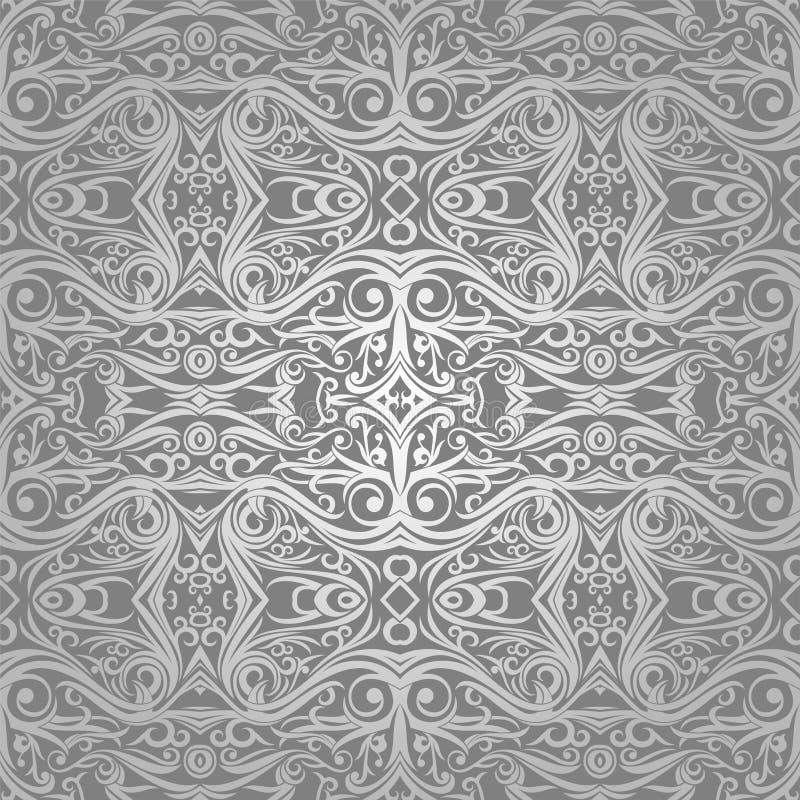 Wallpaper Batik Ethnic Traditional Ornament Stock Illustration