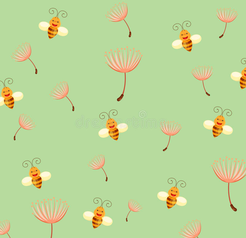 Wallpaper bee and dandelion royalty free illustration