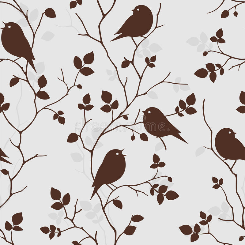 Wallpaper with birds. Seamless pattern royalty free illustration