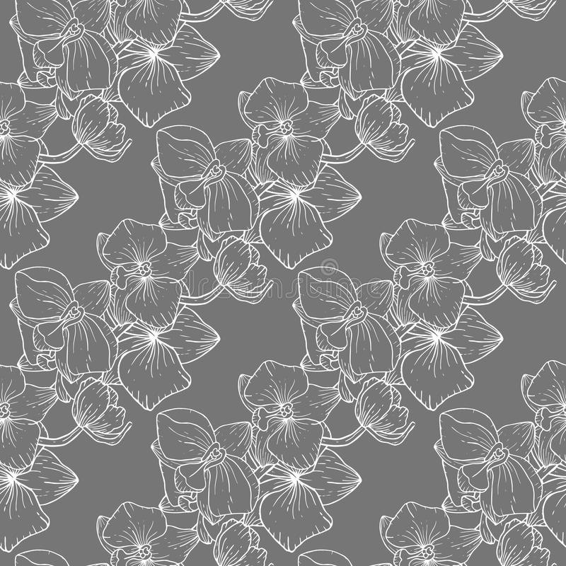 Wallpaper botanical vector illustration with hand drawn flowers. Fantasy florals seamless pattern stock illustration