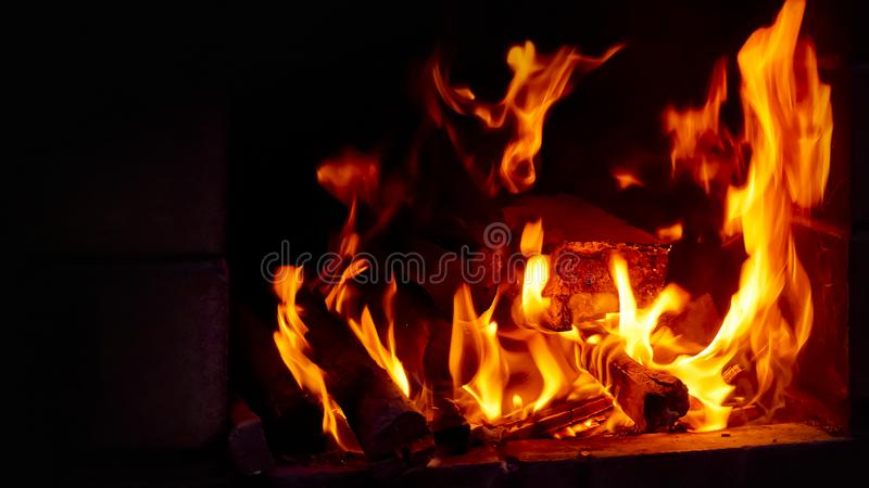 Hot coal with lights, preparation for cooking kebabs, barbecue. stock photo